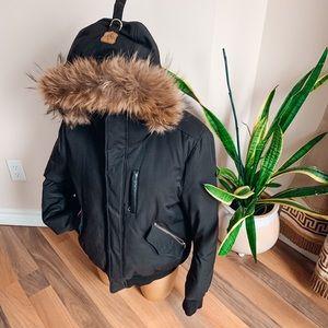 Mackage Men Down Bomber jacket with fur hood